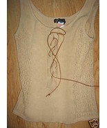 Ladies Beige Size L Sweater Vest Suede Tie Up Front Open Weave Takeout K... - $14.99