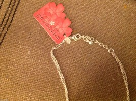 Delicate twig leaf flower charms teardrop crystal silver tone necklace #2 image 4
