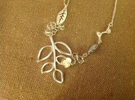 Delicate twig leaf flower charms teardrop crystal silver tone necklace #2 image 2