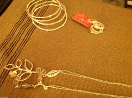 Delicate twig leaf flower charms teardrop crystal silver tone necklace #2 image 5