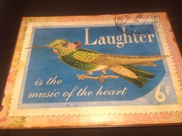 Decorative Indoor/Outdoor Metal Plaque Laughter Theme Bird With Tag New image 4