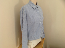 Denim & Co. Light Blue White Checkered Button Up Shirt Made in Hong Kong Size L image 2