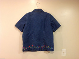 Denim & Co. Short Sleeve Medium Blue Wash Jean Jacket Front Zipper, Size L image 2