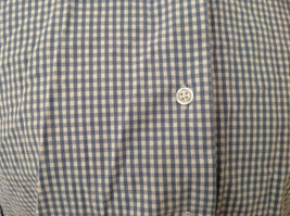 Denim & Co. Light Blue White Checkered Button Up Shirt Made in Hong Kong Size L image 4