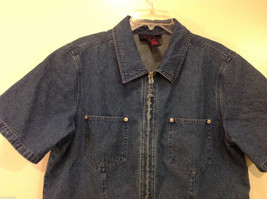 Denim & Co. Short Sleeve Medium Blue Wash Jean Jacket Front Zipper, Size L image 3