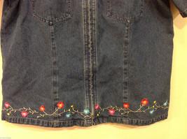 Denim & Co. Short Sleeve Medium Blue Wash Jean Jacket Front Zipper, Size L image 4