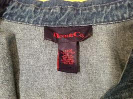 Denim & Co. Short Sleeve Medium Blue Wash Jean Jacket Front Zipper, Size L image 8