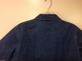 Denim & Co. Short Sleeve Medium Blue Wash Jean Jacket Front Zipper, Size L image 6