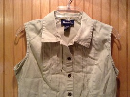 Denim and Company Sleeveless Button Up Light Brown Shirt Size Medium image 2