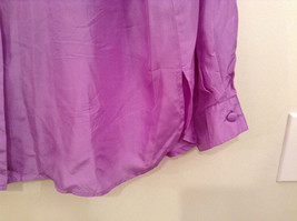Denim and Company Size L Long Sleeve Lavender Button SILK Blouse image 5