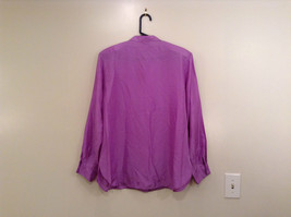 Denim and Company Size L Long Sleeve Lavender Button SILK Blouse image 2