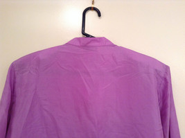 Denim and Company Size L Long Sleeve Lavender Button SILK Blouse image 6
