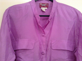 Denim and Company Size L Long Sleeve Lavender Button SILK Blouse image 3