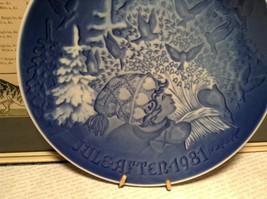 Denmark Porcelain Vintage Blue Christmas Plate with Hanger Christmas Peace 1981 image 3