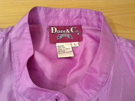 Denim and Company Size L Long Sleeve Lavender Button SILK Blouse image 8