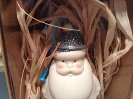 Department 5 White Glitter Santa with Glittery Blue Red or Green Hat NIB image 2