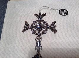 Department 56 Beautiful Blue Jeweled Cross Ornament Decoration image 5