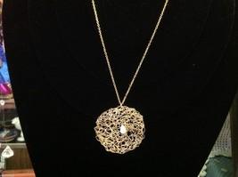 Designer gold necklace pendant with green aventurine cabochon image 2