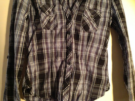 Divided Juniors Fitted Blue Black White Plaid Button Up Long Sleeve Shirt Size 4 image 5