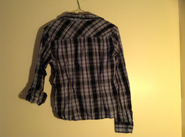 Divided Juniors Fitted Blue Black White Plaid Button Up Long Sleeve Shirt Size 4 image 8
