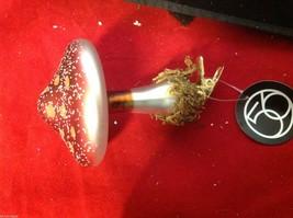Department 56 Clip on mushroom moss footing in brown burgundy green ornament image 2