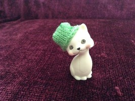 Department 56 Cute Kitten Cat ornament w real Knitted Hat cap color choice image 2