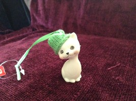 Department 56 Cute Kitten Cat ornament w real Knitted Hat cap color choice image 3