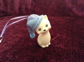 Department 56 Cute Kitten Cat ornament w real Knitted Hat cap color choice image 5