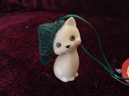 Department 56 Cute Kitten Cat ornament w real Knitted Hat cap color choice image 8