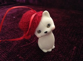 Department 56 Cute Kitten Cat ornament w real Knitted Hat cap color choice image 9