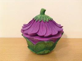 Department 56 Garden Guardian Violet Flower Trinket Box w Small Fairy Inside image 4