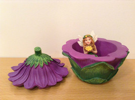 Department 56 Garden Guardian Violet Flower Trinket Box w Small Fairy Inside image 6
