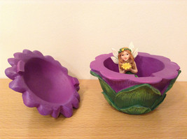 Department 56 Garden Guardian Violet Flower Trinket Box w Small Fairy Inside image 7