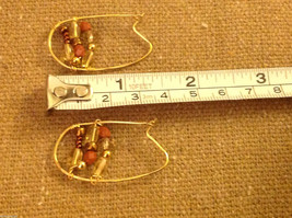 Designer gold wire earrings  with copper and crystal beads abstract hoops image 3