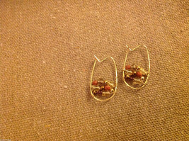 Designer gold wire earrings  with copper and crystal beads abstract hoops image 2