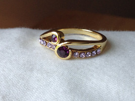 Double Purple CZ with Light Purple Accents Swirl Design Gold Planted Ring Size 7 image 8
