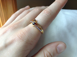 Double Purple CZ with Light Purple Accents Swirl Design Gold Planted Ring Size 7 image 4