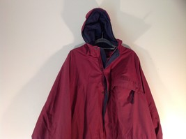 EMS Burgundy Zipper Closure Hood Hiking Camping Jacket Size XL 3 Front Pockets image 2