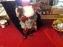 Department 56 Tall Collector's Santa embellished red winter w skis boots snow image 4