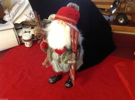 Department 56 Tall Collector's Santa embellished red winter w skis boots snow image 11