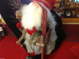 Department 56 Tall Collector's Santa embellished red winter w skis boots snow image 6