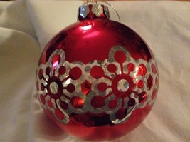 Department 56 red silver filigree snowflake vintage type Glass Holiday Ornament image 2
