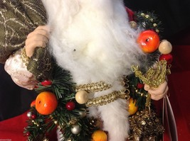 Department 56 Tall Collector's Santa in traditional red w fruit garland and sack image 4