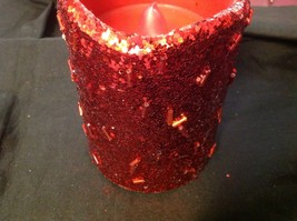 """Electronic battery powered LED glow red glitter candle 4"""" w timer setting image 11"""