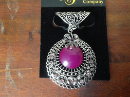 Elegant Large Round Purple Stone Small Violet Crystals Scarf Pendant Silver Tone image 2