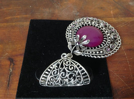 Elegant Large Round Purple Stone Small Violet Crystals Scarf Pendant Silver Tone image 4
