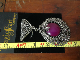 Elegant Large Round Purple Stone Small Violet Crystals Scarf Pendant Silver Tone image 5