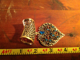 Elegant Blue Crystals Heart Shaped Gold Tone Scarf Pendant by Magic Scarf image 3