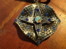 Elegant Square Multicolored Stone Small Blue Crystals Gold Tone Scarf Pendant image 2