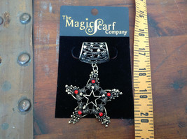 Elegant Gold Tone Star Shaped with Red Crystals Scarf Pendant by Magic Scarf image 4